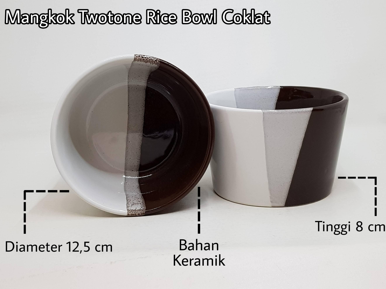 Mangkok twotone ricebowl coklat