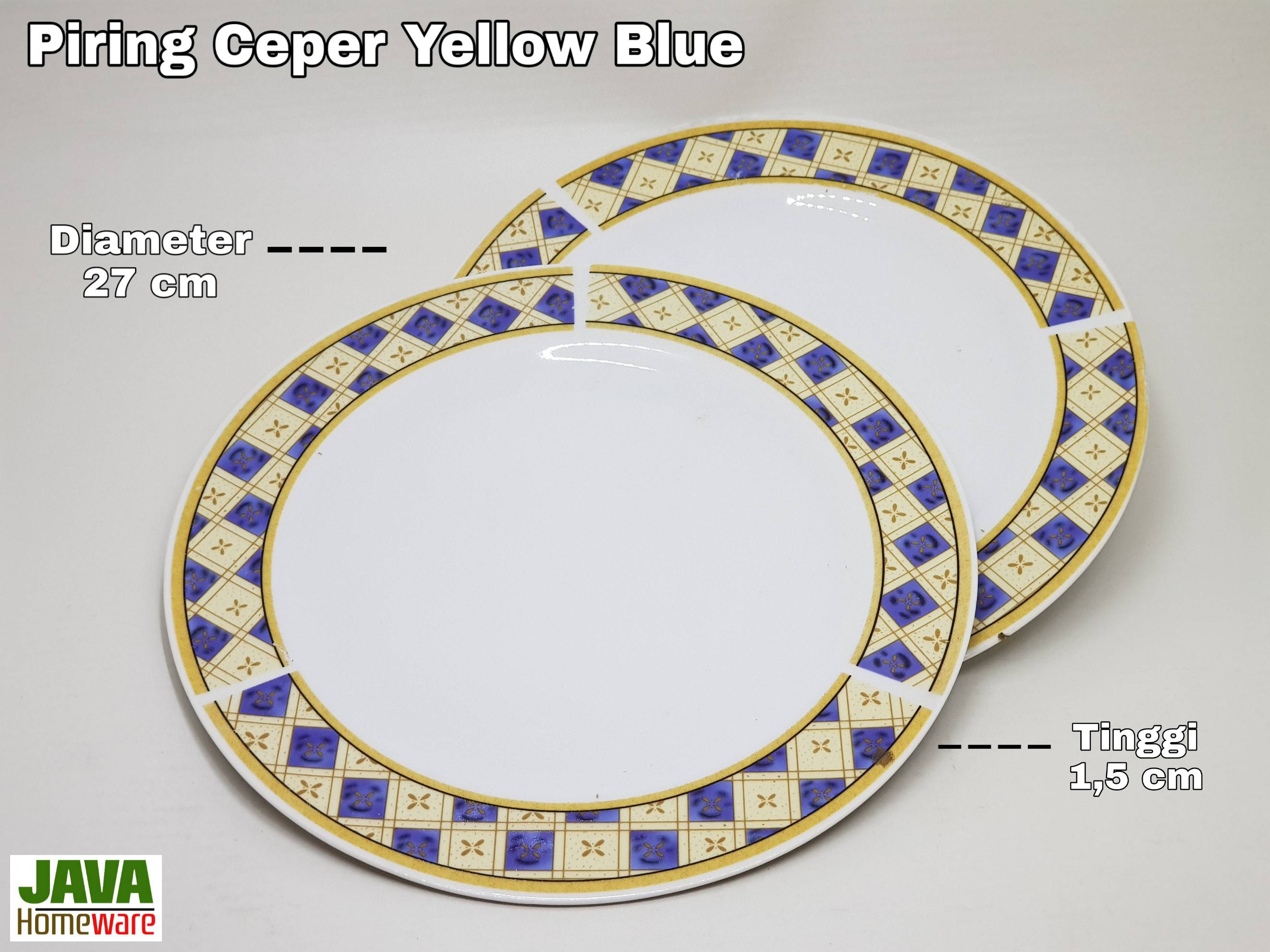 Piring Ceper Ceramic Yellow Blue