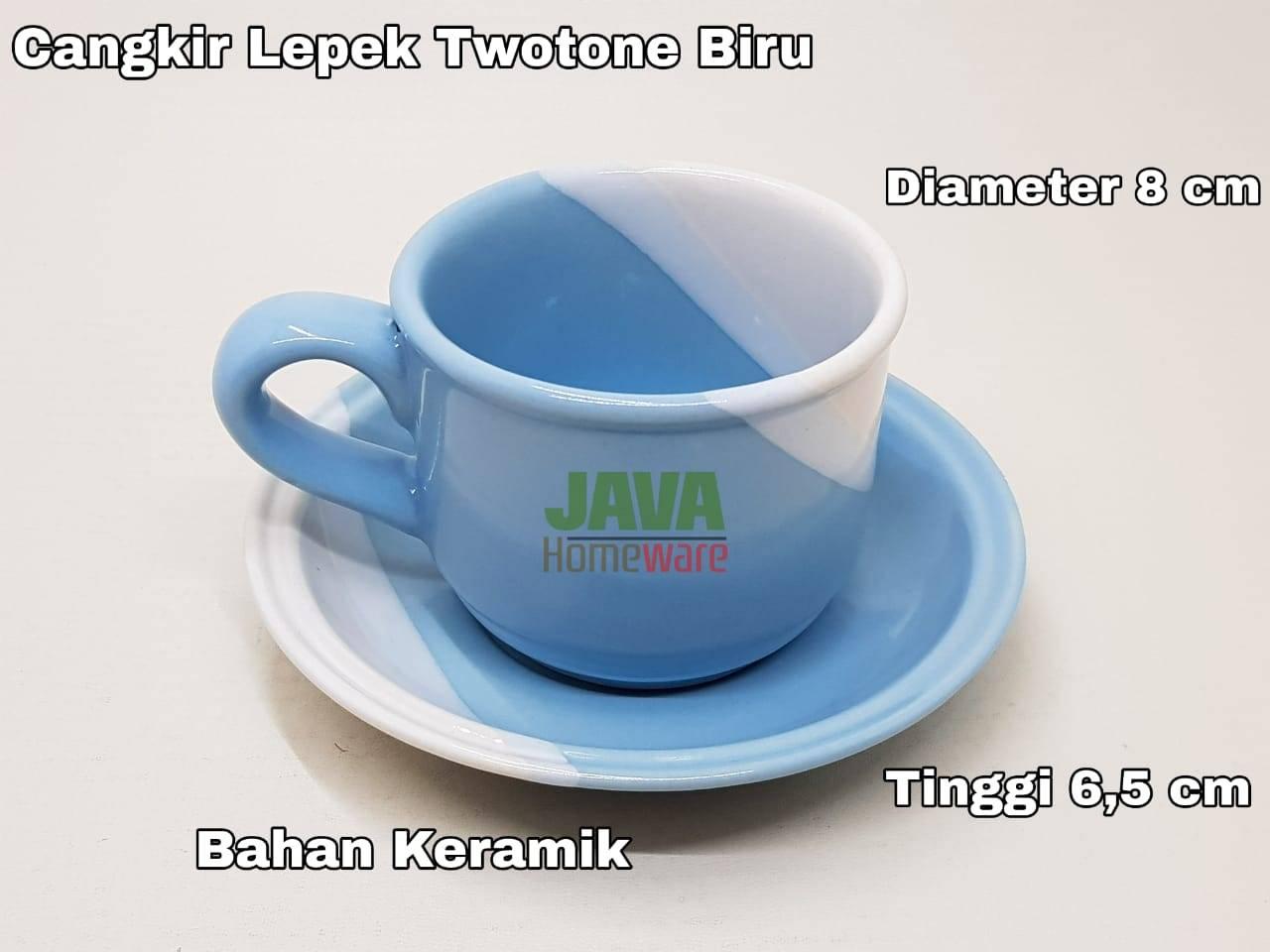 Cangkir Lepek Twotone Biru