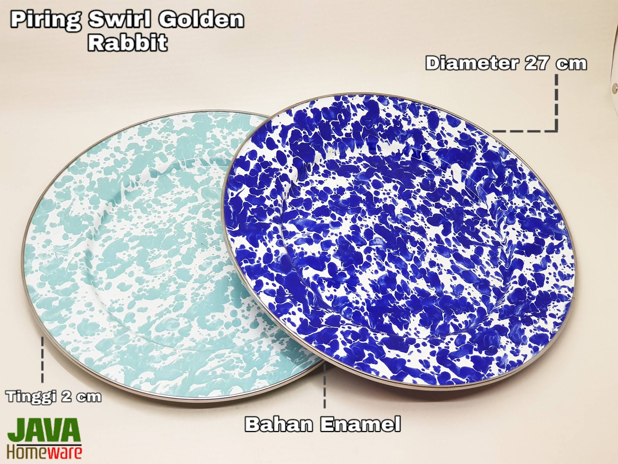 Piring Biru Muda Swirl Golden Rabbit