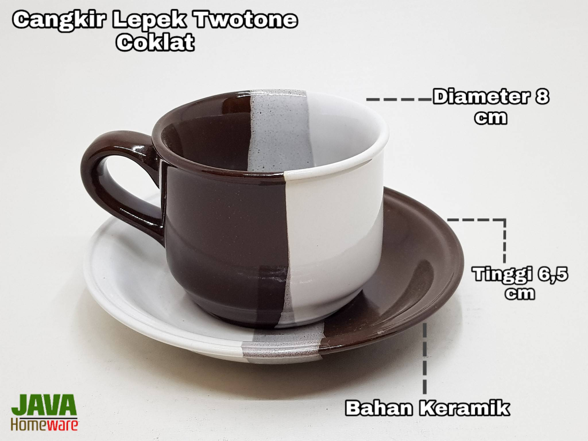 Cangkir Lepek Two tone Coklat